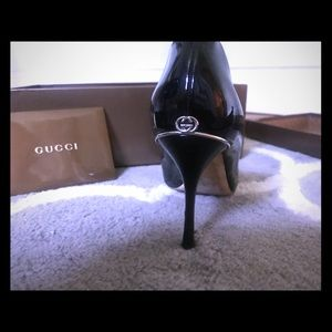 Gucci patent leather peep toe heels